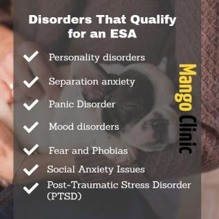 Disorders that qualify for an ESA - Mango Clinic