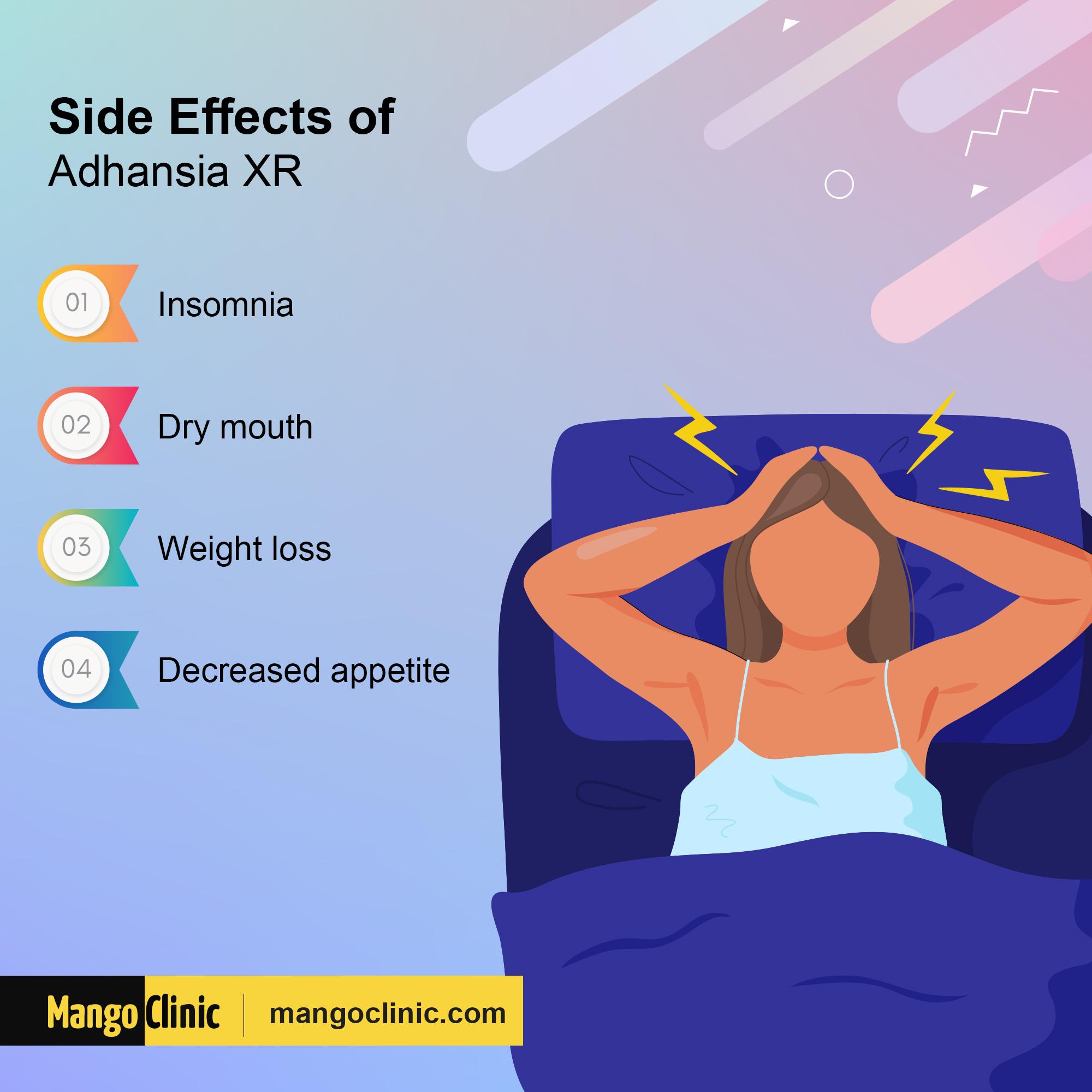 Adhansia XR Side Effects